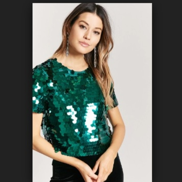 018557a26882b6 Forever 21 Tops | Big Round Green Sequins Top Short Sleeves | Poshmark